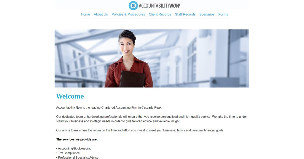 Simulated Business Homepage